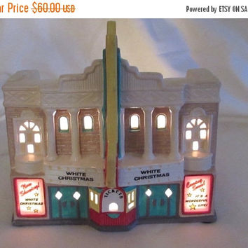 Christmasinjuly Dept 56 Paramount Theatre, Snow Village Paramount Theatre Decorator Light, Lighted Ceramic Theatre, Holiday Decor, lasloveli