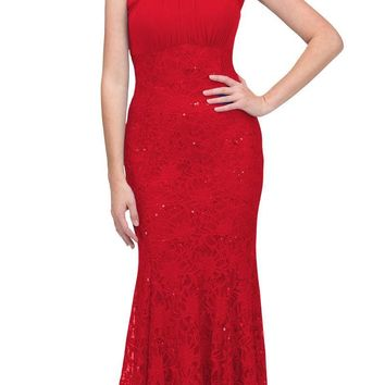CLEARANCE - Red Mermaid Long Formal Dress Beaded Neckline (Size XL)