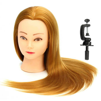 22 Inch 30% Golden Real Human Hair Salon Mannequin Training Head Model Hairdressing With Clamp