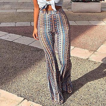 2b6812266076 2018 Women Striped Printed New Boho Flare Pants High Elastic Waist Vintage Soft  Stretch Ethnic Style