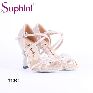 Free Shipping Special Offer Latin Dance Shoes for Christmas New Green Glitter Salsa Dance Shoes