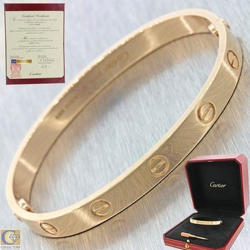 Unworn 2017 Cartier Love 18k Rose Gold Screw Bangle Bracelet Box Papers 17