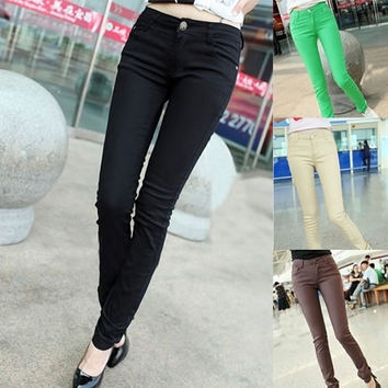 Fashion Mid Waist Sexy Candy Color Cotton Plain Skinny Women's Pants = 1958052548