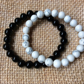 Yin Yang Bracelets: black onyx and white howlite stone beads his and hers stretch bracelet