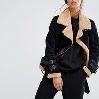 Boohoo Bonded Fleece Lined Jacket at asos.com