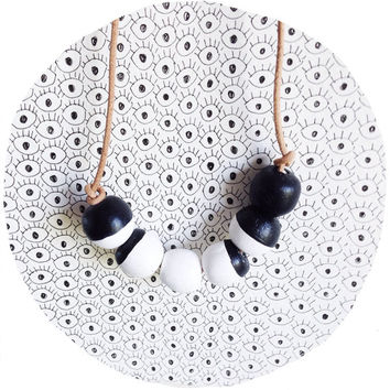 moon necklace / lunar cycle color blocked necklace