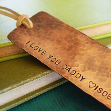 Daddy Bookmark Personalized Hand Stamped Copper by PearlieGirl