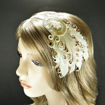 Gold Great Gatsby Headpiece 1920s Flapper Headband Wedding Party Downton Abbey Beaded Fascinator with Cream Brown Feathers Champagne Ribbon