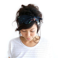 Tie Up Headscarf Black Floral by ChiChiDee on Etsy