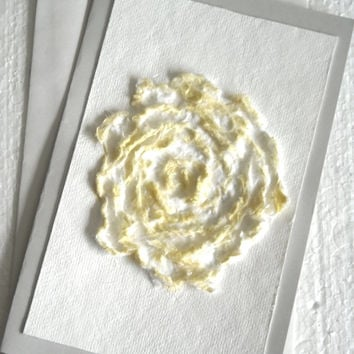 Rose Flower Card, Handmade Paper Card, Flower Art Card, Cottage Chic Rose, Yellow Eco Chic Card, Romantic Card, Anniversary Card for Her