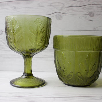 Vintage Pair of 2 F.T.D. Green Glass Oak Leaf Planter Vases | Compote Vase