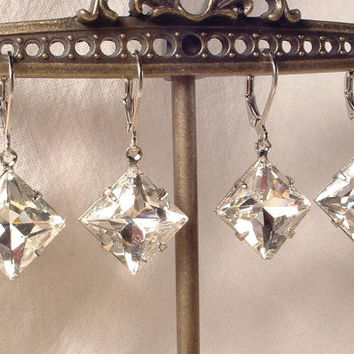 Vintage Art Deco Square Cut Crystal Rhinestone Silver Dangle Drop Earrings 1920s  Flapper Gatsby Downton Abbey Bridal Bridesmaids 1920s