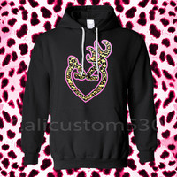 Black hoodie with heart and horn