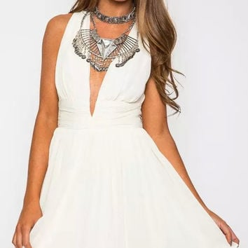 White V-Neck Strap A-Line Chiffon Dress