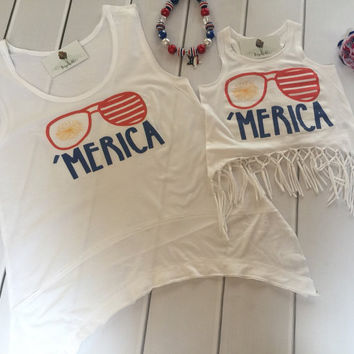 America 'Merica Fringe Tank top / Mommy and me tank tops / 4th of July Tank top / Matching Tank tops / Fourth of July Tank top