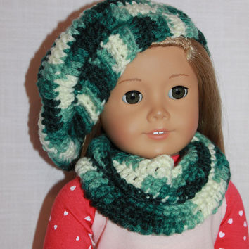 18 inch doll clothes, green mix beret style crochet slouch hat with infinity scarf, Upbeat Petites
