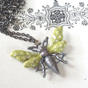 1- Wasp Necklace Hand Painted Insect in Flight 3D Polka Dot Open Wings Flying Bug Jewelry