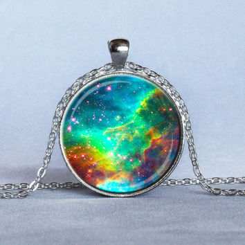 RAINBOW NEBULA Space Jewelry Green Blue Red Astronomy Pendant Science Necklace Astronomy Gift for Her or Him Hubble Image, 1 inch