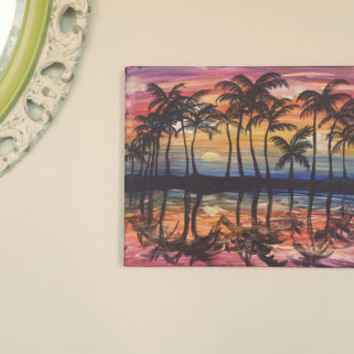 Painting of Paradise, Silhouette, Palm Tree, Canvas Board, Hand designed Acrylic Painting