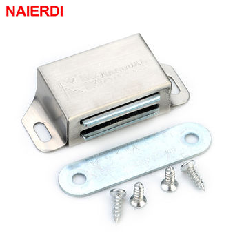 NAIERDI-519 Stainless Steel Magnetic Cabinet Catches Push to Open Touch Kitchen Door Stop Damper Buffer With Screw For Hardware