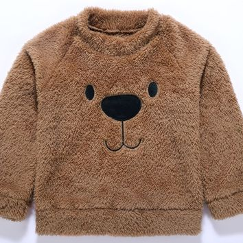 Winter Toddler Kid Baby Girl Boy T-shirt Bear Cute Top Blouse Sweater Thicken Velvet Warm Clothes Baby Kid Boy Girl Clothing