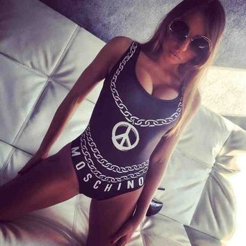 2017 new chain letter printed sexy swimsuit