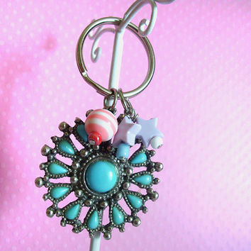 Flower Keychain, Medallion Kawaii Beads, Fairy Kei with Pastel Stars, Women and Teen Girls