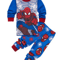 2016 new boys long sleeve spiderman pajamas kids clothing set baby sleepwear in stock boys pajamas