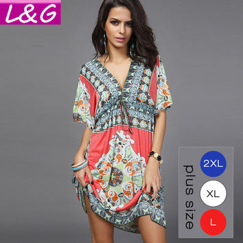 Boho Style Summer Women Dress Sexy Sundresses Deep V Ethnic Floral Dashiki Print Tunic Beach Dresses Big Size SunDress 2XL 10659