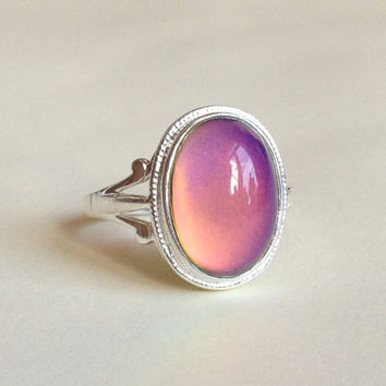 Mood Ring Sterling Silver 925 (Shiny) - 14x10 mm - High Quality