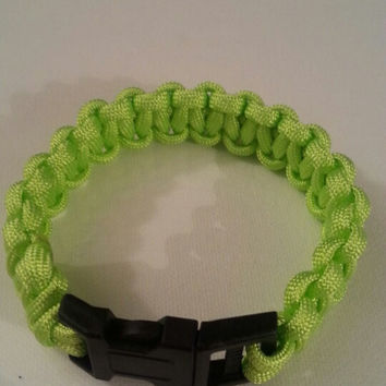 Neon green paracord parachute cord 550/325 bracelet with survival buckle or regular buckle