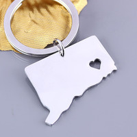 I heart Connecticut keychain - Connecticut keyring - State Charm - Map keychain - Map Jewelry
