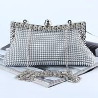 Fashion Banquet Hand Bag Rhinestones Beads Lock Buckle Shoulder Bags Messenger Bag