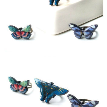 Set of three blue butterfly rings/Wooden laser cut decoupaged rings/Wooden butterfly/Wood jewelry/Insects and bugs jewelry
