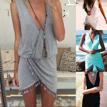 Plus Size Sexy Ladies Casual Sleeveless Short Mini Dress Summer Printed ttassel sexy halter dress Mini V-Neck Tassel Dresses