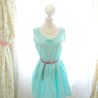 Mint Green Tiffany White Polka Dots Summer Tea Dress SunDress Little Bow Sleeveless Tunic Pleated Dress / Made to order / Plus size