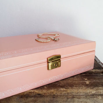 Vintage Pink Salmon Mele Jewelry Box, Storage Box, Velvet Jewelry Box