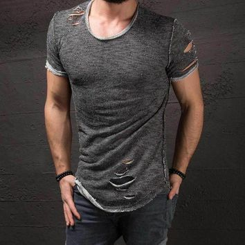 DCCKFS2 New Stylish Hole Ripped Men's Slim Fit Muscle O-Neck Tee Tops Shirt Casual Short Sleeve T-Shirts Fashion Mens Tops