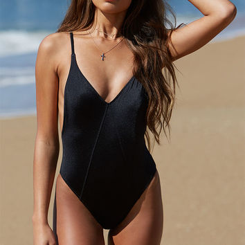 LA Hearts V-Neck Low Back One Piece Swimsuit at PacSun.com