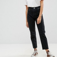 ASOS FLORENCE Authentic Straight Leg Jeans in Washed Black at asos.com