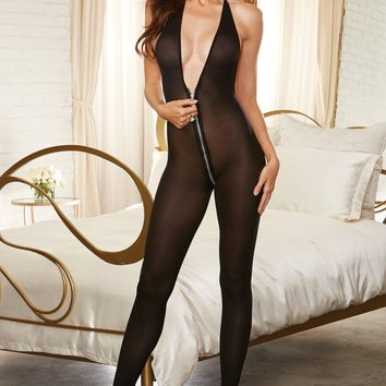 Zippered Halter Bodystocking