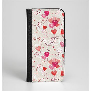 The Pink, Red and Tan Heart Balloon Pattern Ink-Fuzed Leather Folding Wallet Case for the iPhone 6/6s, 6/6s Plus, 5/5s and 5c