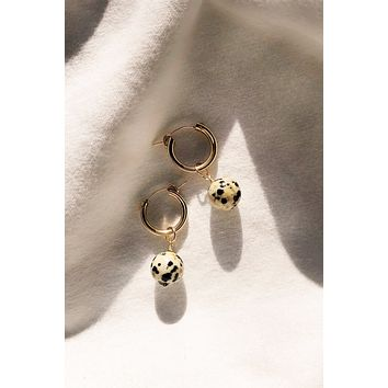 Mini Dalmation Jasper Hoop Earrings