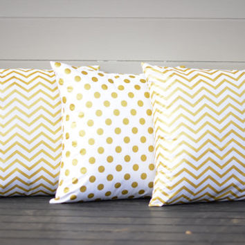 "White and Gold Polka Pillows. 18"" Down Throw Pillows. Gold Pillows. White Gold Polka Dot Toss Pillows. Throw Pillows."