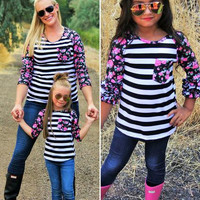 Mommy & Me Black Striped, Floral Tops
