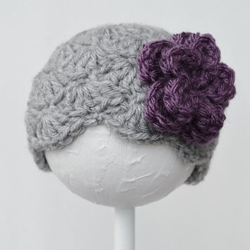 Crochet Shell Beanie Hat with Flower, Newborn Hat, Girl's hat, ReadyToShip