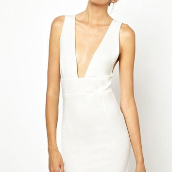 White Sleeveless V-Neck Pencil Dress