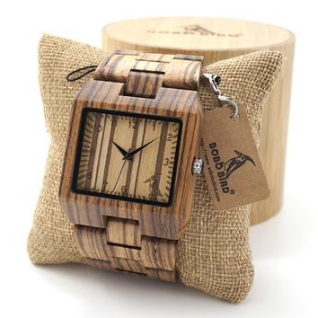 BOBO BIRD Rectangle Zebra Mens Wooden Wrist Watch Top Brand Luxury Quartz Watches with Full