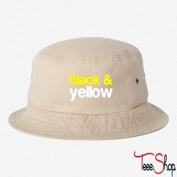 Black and Yellow Wiz Khalifa Design 6 bucket hat