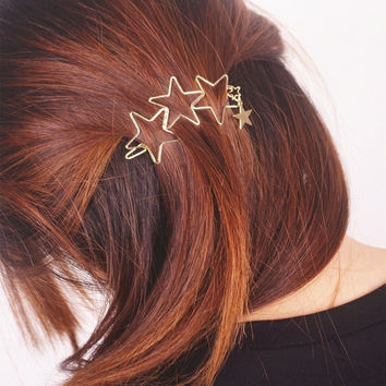 Women Ladies Popular Hollow Star Tassel Hairpin Hair Pin Hair Clips New High Quality Hair Accessories